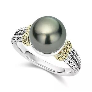 NWT 9.5-10MM FRESHWATER 925SS/14KT PEARL RING •